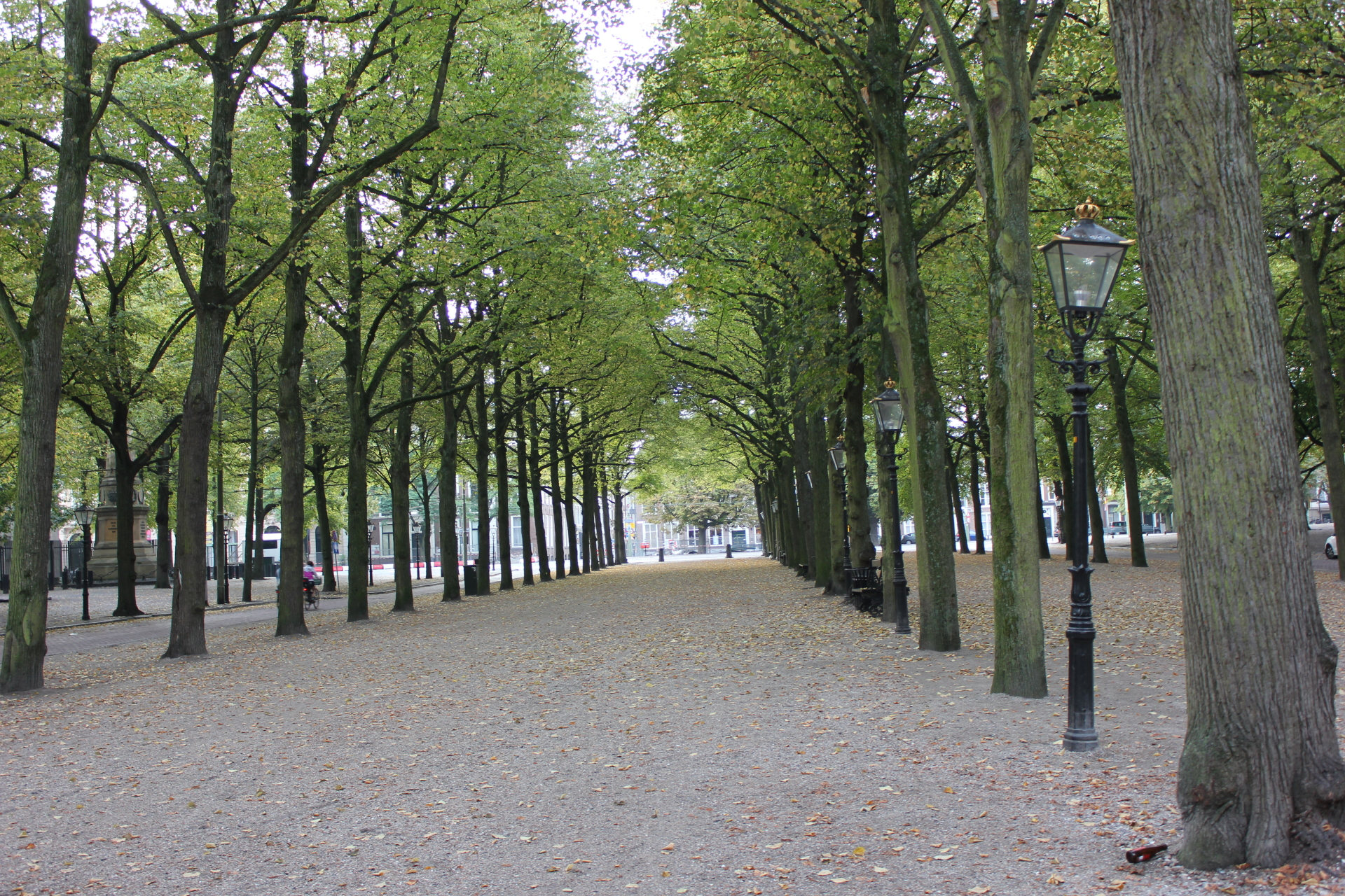 The park in front of The Hotel Des Indes
